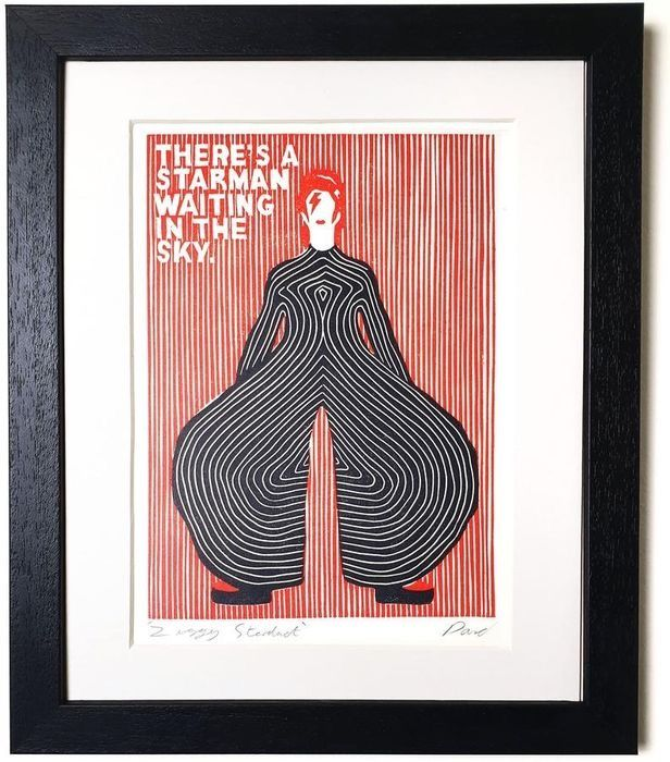 David Bowie - Ziggy Stardust 'There's a Starman Waiting in the Sky' - Handmade print, signed by the designer - 2019/2019