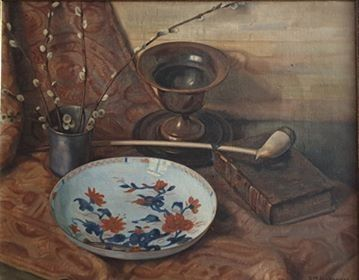 Douwe Mattheus Hoogeveen (1891-1976) - Still life with book in chinese bowl