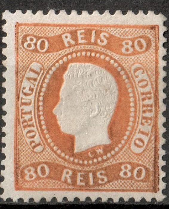 Portugal 1867/1870 - Stamp D.Luis I Curved Strip Perforated 80 Reis - Mundifil Nº 32