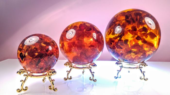 Amber (fossilized resin) Sphere - 95×75×55 mm - 858 g - (3)