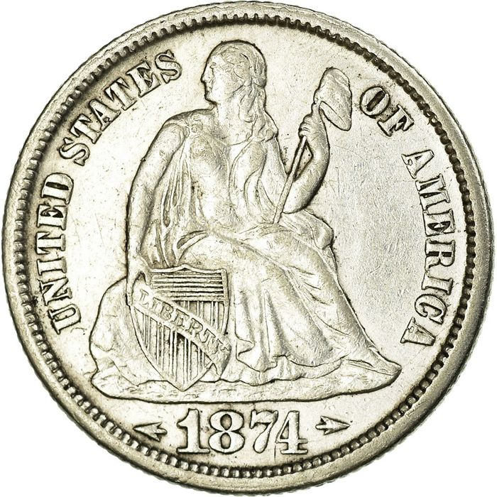 United States - 10 Cents 1874 Seated Liberty Dime - Silver