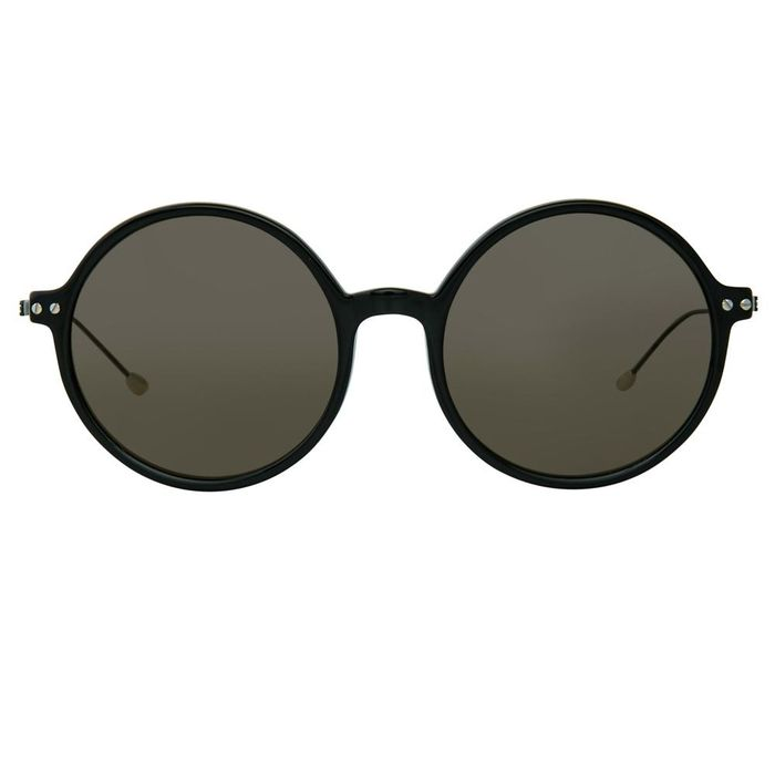 """Ann Demeulemeester - Round Shiny Black 925 Silver with Grey Lenses CAT3 AD54C1SUN """"NO RESERVE PRICE"""" Sunglasses"""