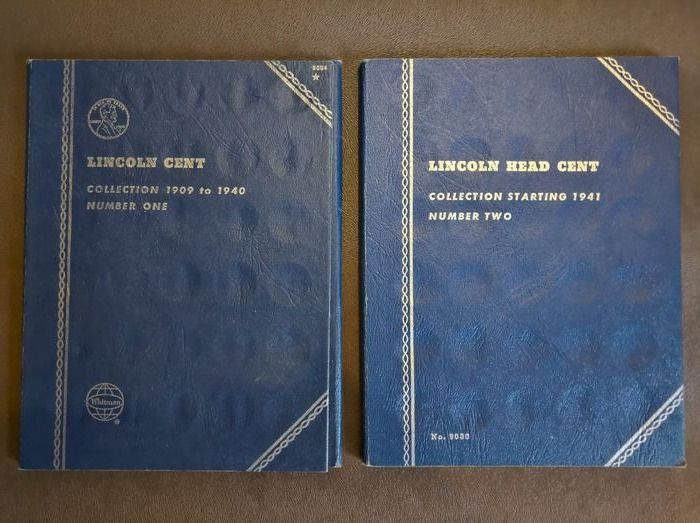 USA - Lincoln Head Cent Collection - 2x Whitman Blue Album: Number One and Two 1909-1940 & 1941-1964