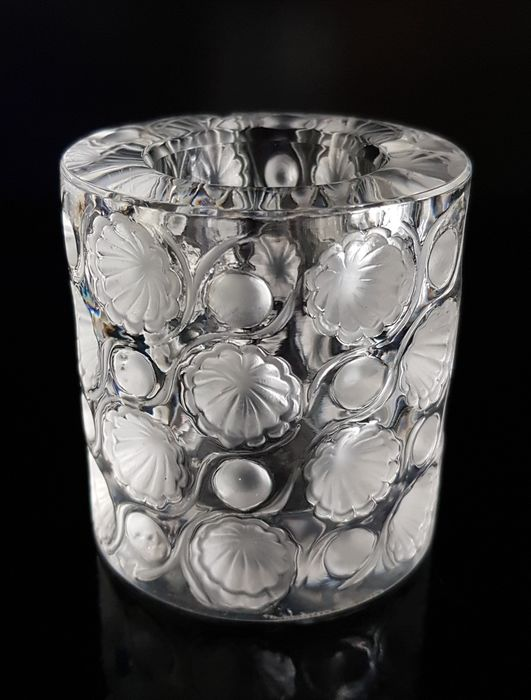 René Lalique - Lalique - Bougeoir photophore ou pot rare (1) - Cristal
