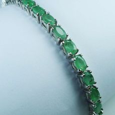 May birthstone - Emeralds in Sterling silver - Bracelet - Polished - 11.8 g