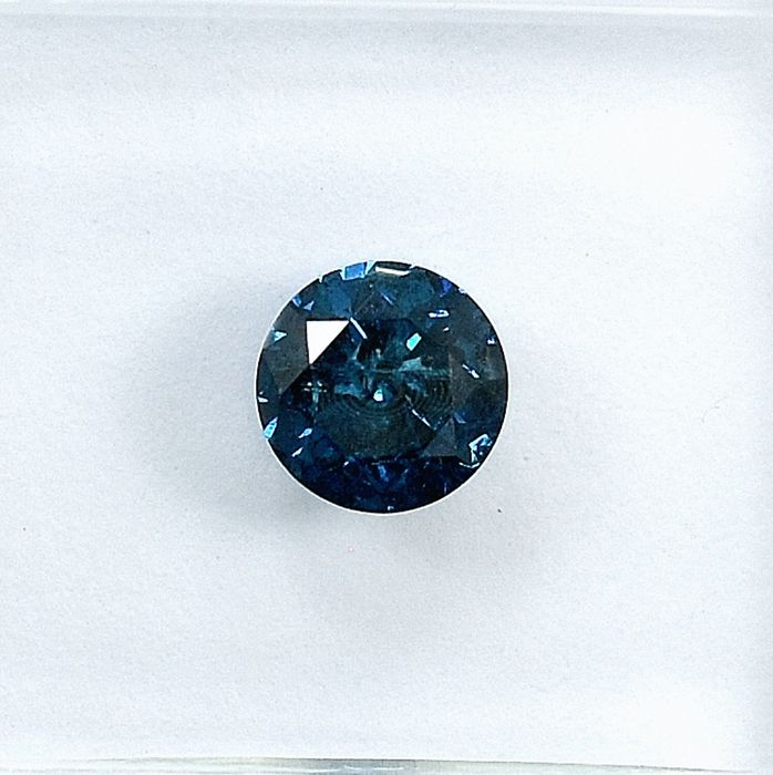 Diamant - 0.53 ct - Brillant - Fancy Deep Blue - I2 - NO RESERVE PRICE Treated Colour