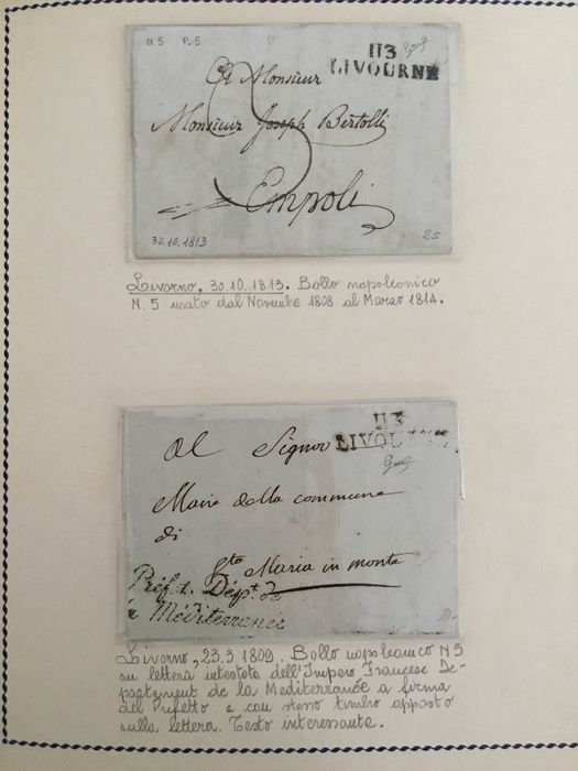 Italy - Lot of 19 pre-philatelic letters and 22 with Livorno cancellations