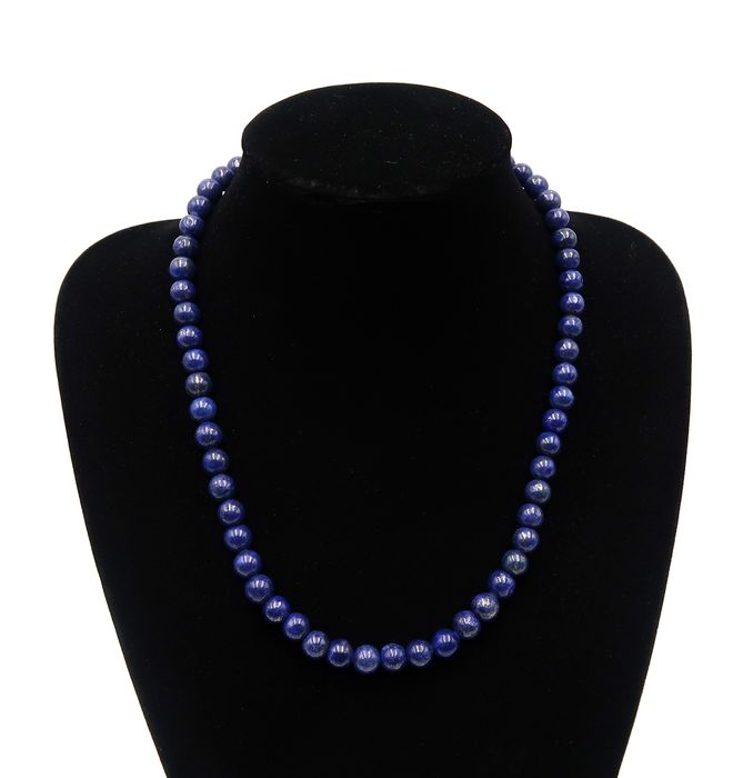 Lapis Lazuli - Polished lapis pearl necklace with pyrite shards - 55cm - 73 g