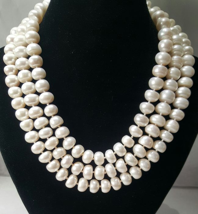 Freshwater pearls XL necklace with silver brooch - 1×1×132 cm - 180 g