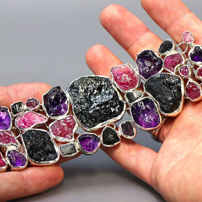 Exclusive silver bracelet with Ruby, Amethyst and Tourmaline Mounted Rough Minerals - 200×45×8 mm - 115 g