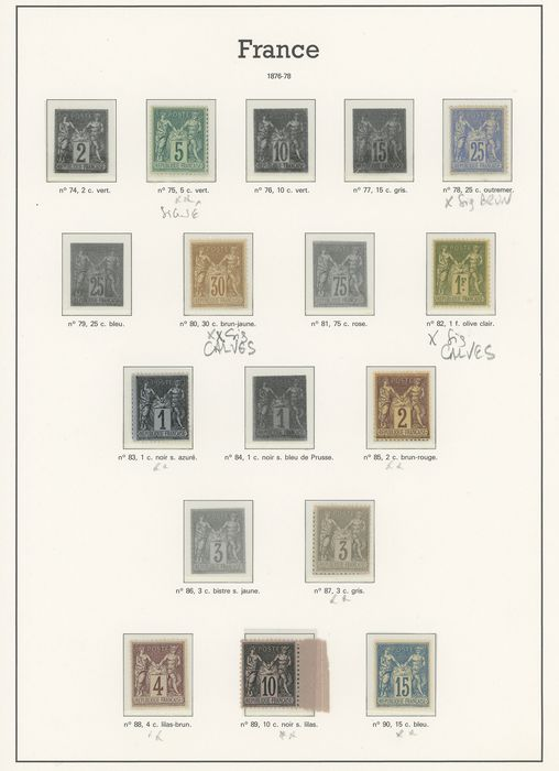 France 1876/1898 - A lovely collection of classic type Sage stamps, including signed stamps. - Yvert Entre les n°75 et 106