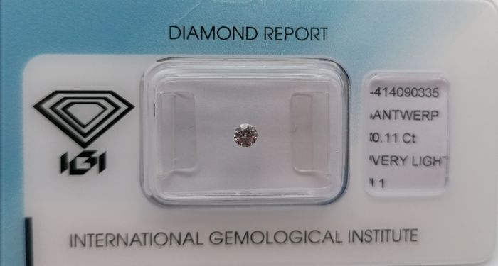 1 pcs Diamond - 0.11 ct - Brilliant - Very light greyish pink - ***no reserved price***i1