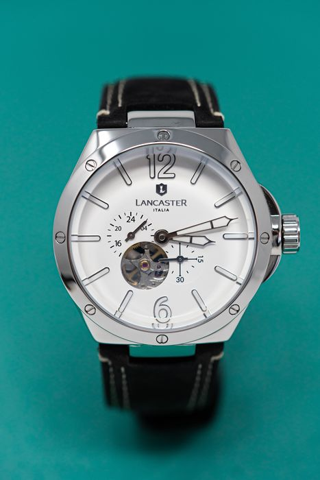 "Lancaster Italy - Space Shuttle Meccanico White Grey Leather Strap - OLA0677LSSBNNR ""NO RESERVE PRICE"" - Uomo - Brand New"