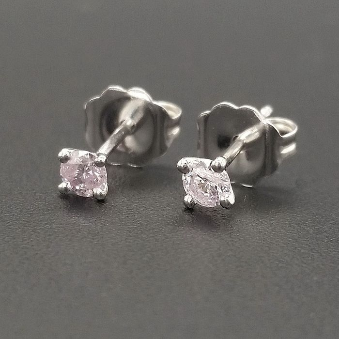 0.20ct Natural Fancy Light Pink Diamonds - 14 kt. White gold - Earrings - ***No Reserve Price***