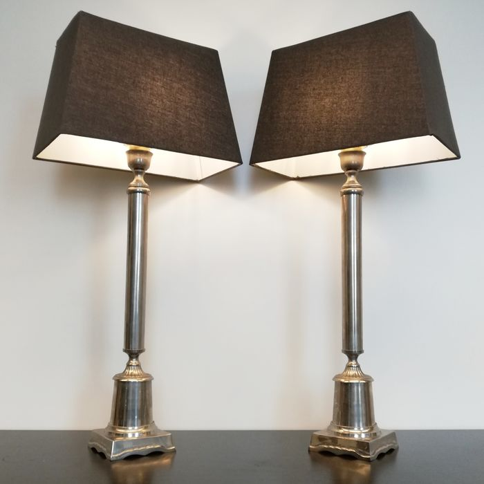 A Pair of Large Metal Neoclassical Column Table Lamps - Neoclassical Style