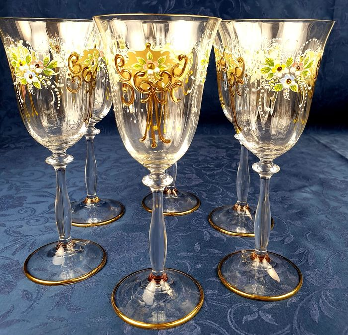 Tre Fuochi - Beautiful service in crystal and three fires enamels (6) - Crystal, Enamel