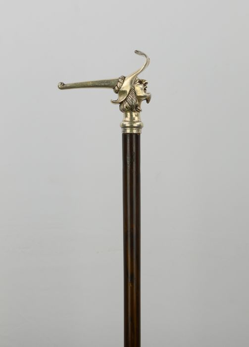 Walking stick man with hat - Brass, Mahogany, Silver plated - Mid 20th century