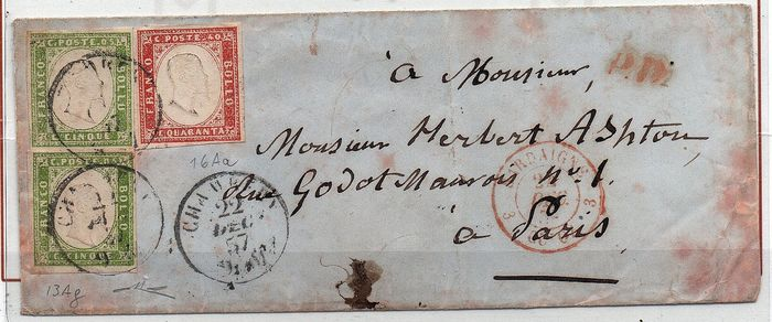 Italienische antike Staaten - Sardinien 1857 - 5 cents olive yellow green (2); 40 cents light scarlet red on letter to Paris - Sassone NN. 13Ag; 16Aa