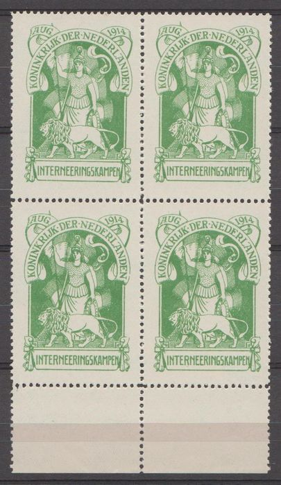 Niederlande 1916 - Internment camp stamp in a block of four - NVPH IN1
