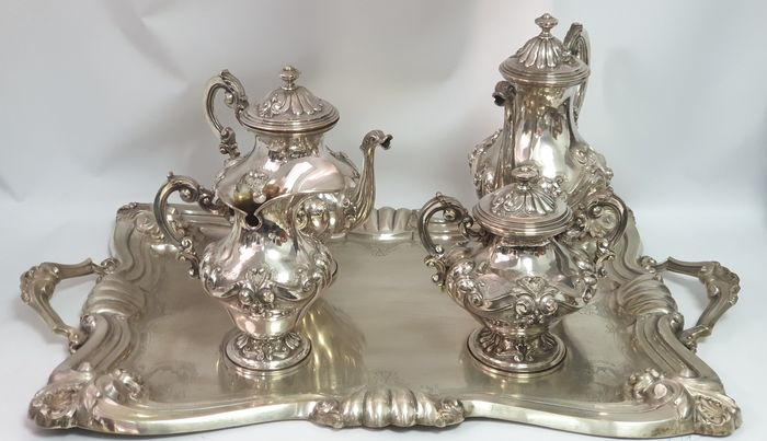 Coffee and tea service, A BIG COFFEE AND TEA SET WITH TRAY - .833 silver - Portugal - Mid 20th century