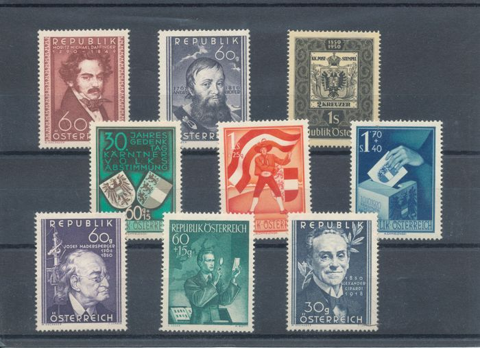 Itävalta 1946/1954 - Large batch of complete years without the airmail issues.