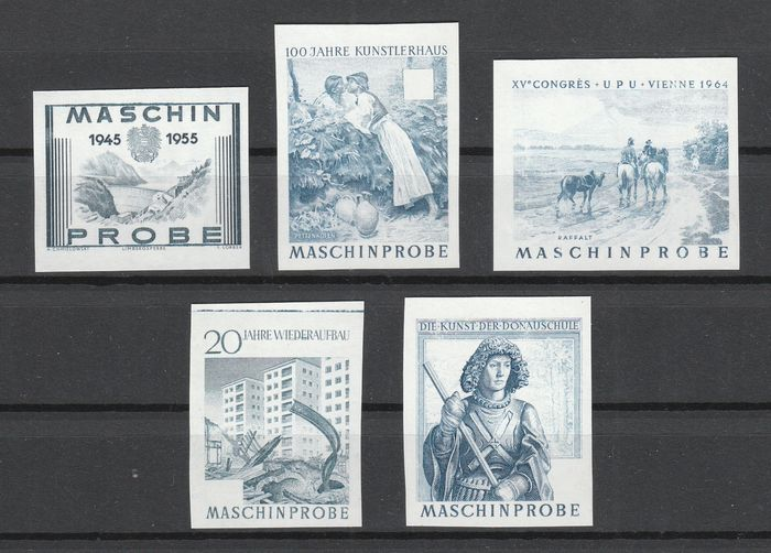 Austria - Lot with 5 different imperforate machine proofs/print proofs - Michel 1016+1088+1159+1179+1182