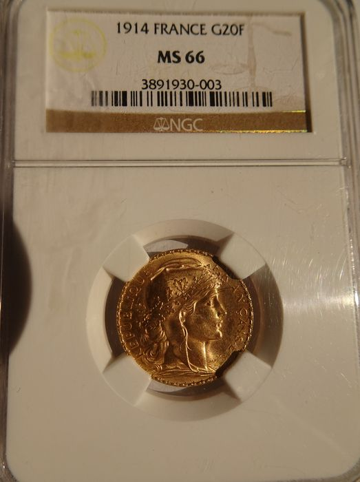 20 Francs 1914 Marianne - NGC MS66 - Or