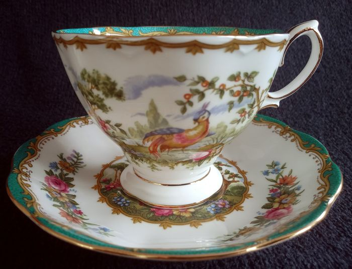 Royal Albert - 6 Coffee tea men cup saucers Chelsea Bird (12) - Romantic - Porcelain