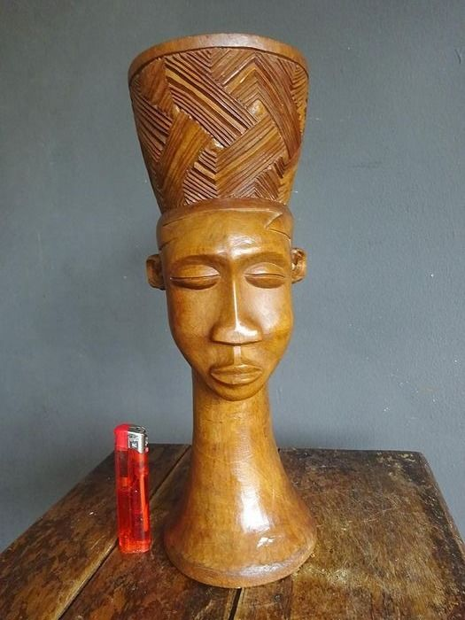 Beautiful tall African palm wine cup (1) - Wood - Africa