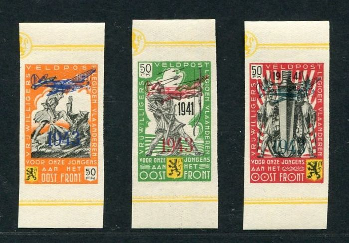 Belgien 1943 - Flemish Legion with overprint '1943' and airplane - with strips - imperforate - OBP / COB E34/36 ND