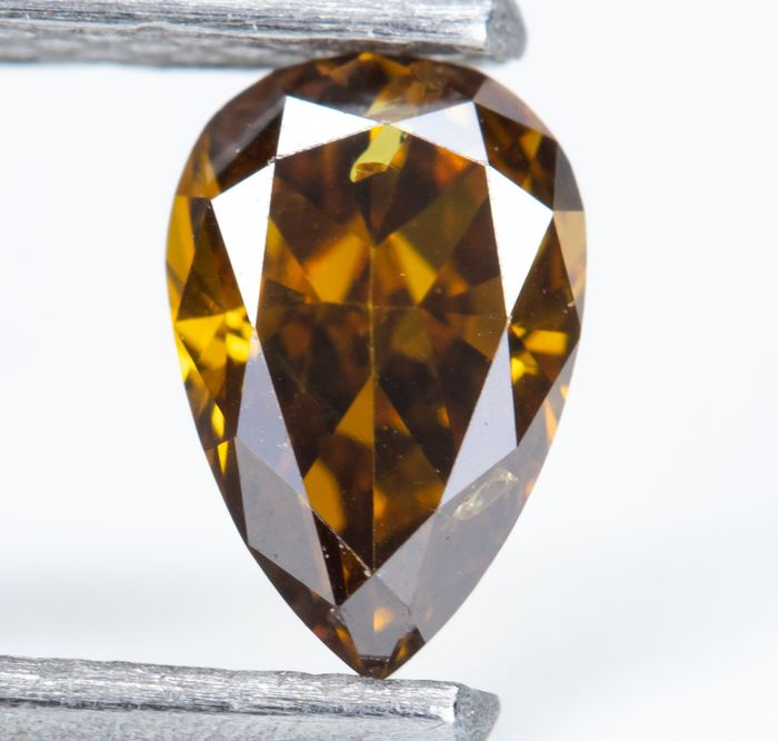 Diamond - 0.30 ct - Natural Fancy Dark Brownish Yellow-Orange - I1  *NO RESERVE*