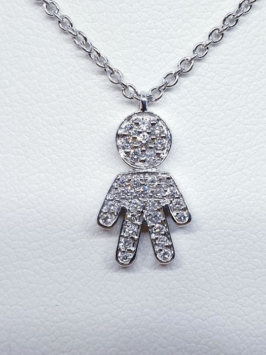Crivelli - 18 kt. White gold - Necklace with pendant - 0.40 ct Diamond