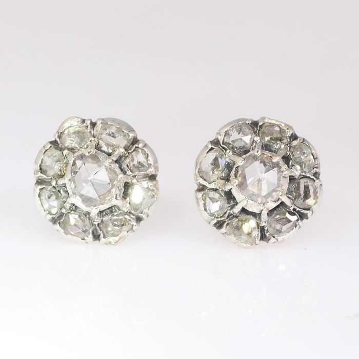 18 kt. Yellow gold - Earrings, Earstuds, Antique Victorian, Anno 1890 - Diamond - Natural (untreated), NO RESERVE PRICE