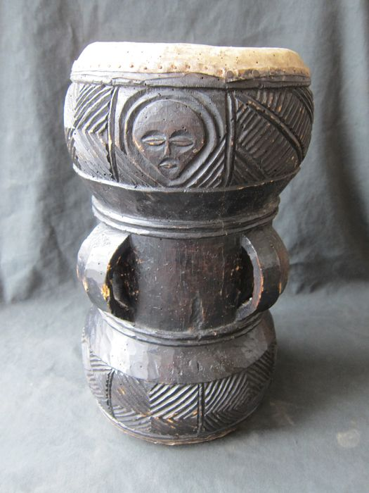 Drum, drummer - Leather, Wood - Chokwe - DR Congo