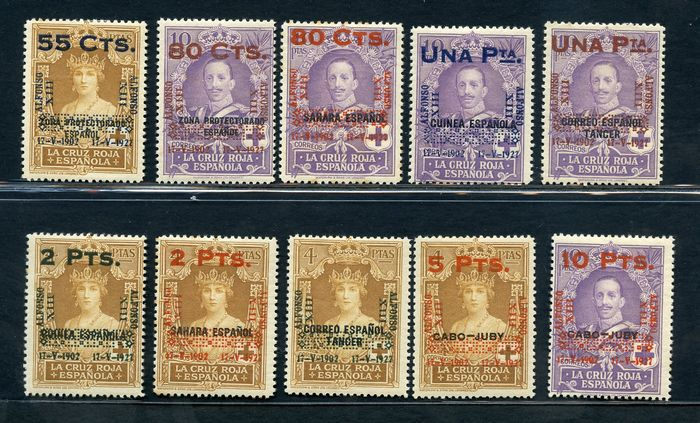 Spanien 1927 - Overprinted stamps of the colonies - Unificato NN. 329/38
