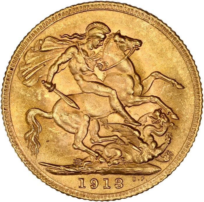 Royaume-Uni - Sovereign 1913 George V - Or