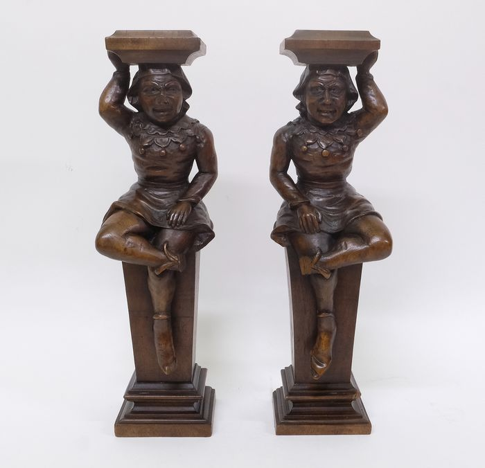 Sculpture, Couple of Jesters (2) - Wood - 19th century