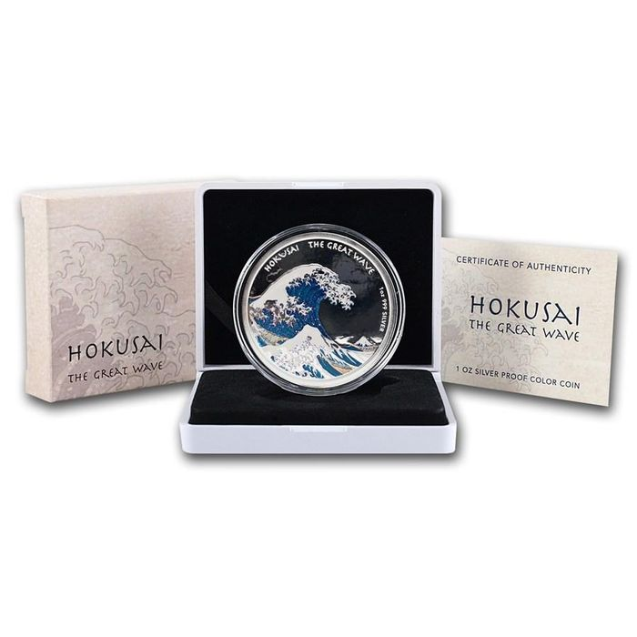 "Fiji - 10 Dollar 2017 ""Hokusai - Great Wave - Coloured- 1 Oz with COA and BOX - Silver"