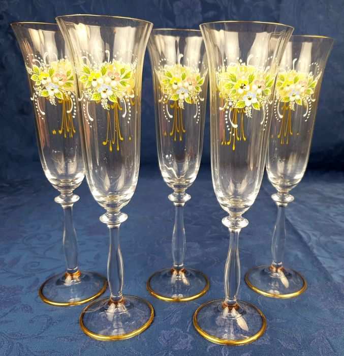 Tre Fuochi - Beautiful set of crystal flutes and three fires enamels (5) - Crystal, Enamel