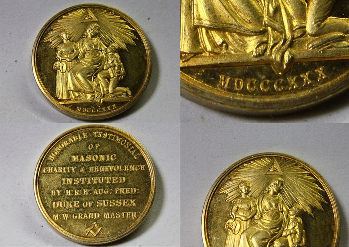Great Britain - Masonic or Freemason bronze gilt medal of Honorable Testimonial of Masonic Charity & Benevolence, 1830