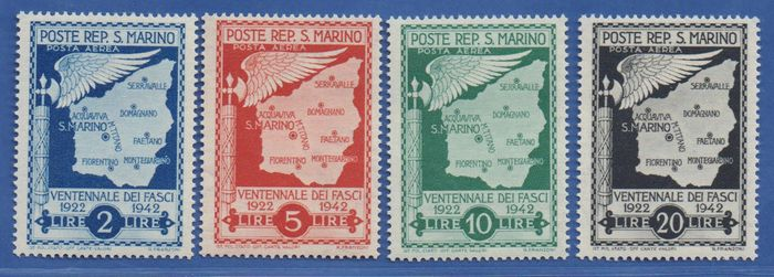 San Marino 1943 - Airmail twentieth anniversary of the fasces, complete, 6 unissued values - Sassone NN. 26/31