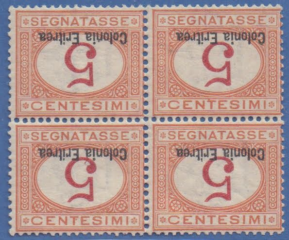 Érithrée italiennne 1920 - Postage due 5 c. orange and carmine block of four with inverted overprint and figure - Sassone N. 14a