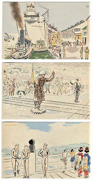 Drei original Holzschnitt Postkartenabzüge - Papier - Wada Sanzo (1883-1967) - Sketches of G.I. in New Japan, Collection I - Japan - 1945-1950