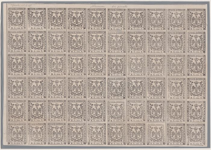Anciens états italiens - Modène - Proof of postage due for newspapers B.G. small letters, sheet of 60 pieces - Sassone P34 (foglio)
