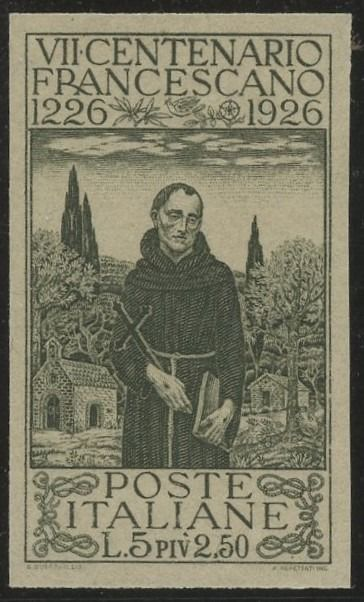 Italien Königreich 1926 - St. Francis archive proof mint never hinged of the 5l+2.50l in olive colour used for colonies - Sassone N.197