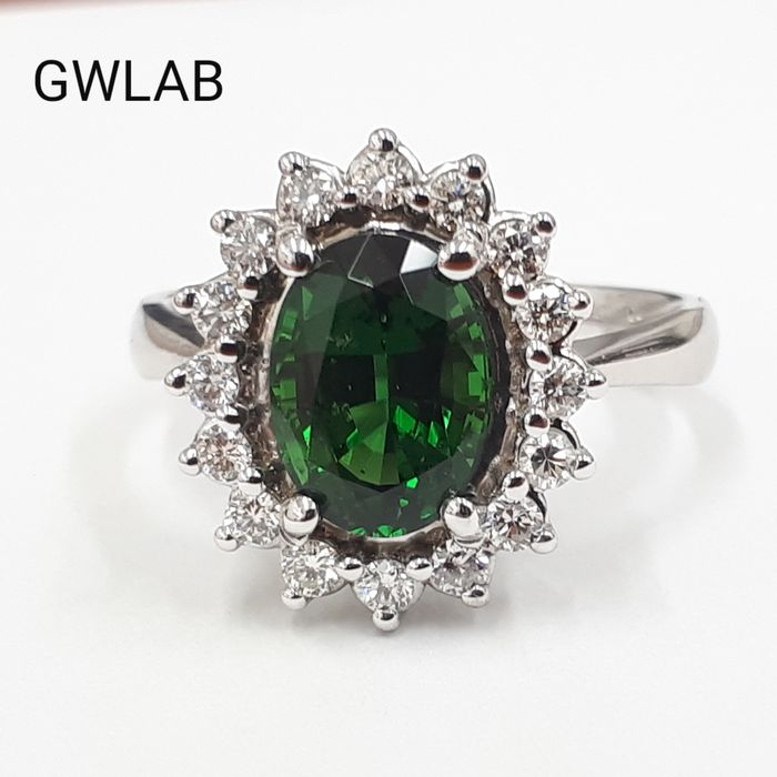 14 kt. White gold - Ring - 1.79 ct Tourmaline - Diamonds