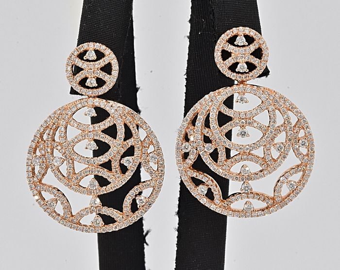 18 kt. Rose Gold - Earrings - 3.93 ct Diamond