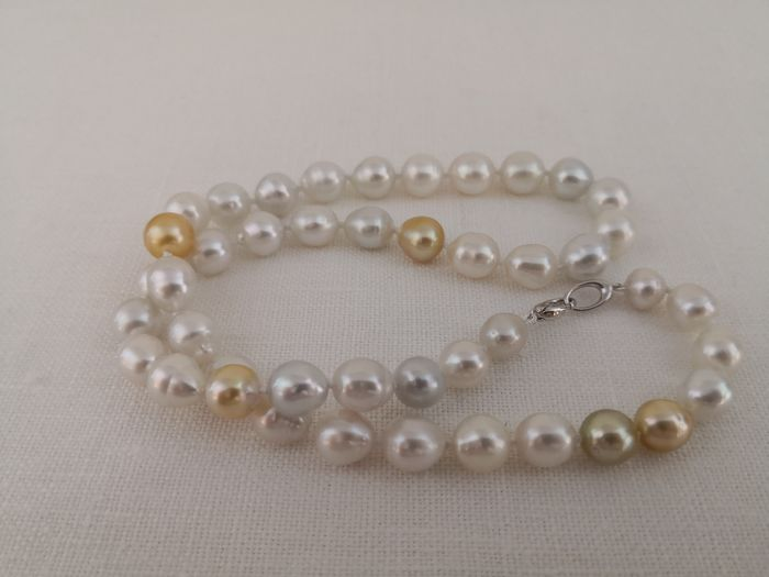 925 South sea pearls, 8-11 mm Natural Colors - Necklace