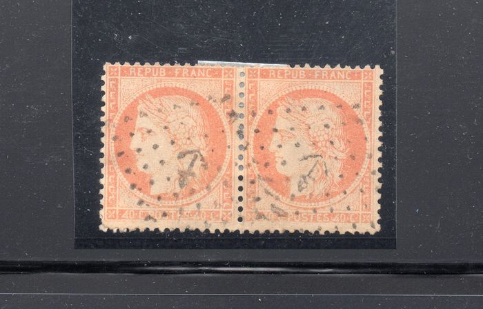 "Frankrijk 1870/1870 - Yvert 38f: Pair of 38 with ""4"" retouched with RR anchor postmark. - Yvert 38f"