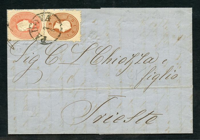 Antike italienische Staaten - Lombardo Veneto 1863 - Letter stamped with 5 soldi and 10 soldi - (bicolour) - Sassone N. 33 - 34